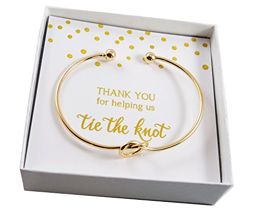 (Bridal Party Thank You For Helping Us Tie the Knot Gift Set - Gold-Tone Knot Bangle Bracelet with Messaged Gift Box)