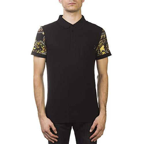 (Versace Jeans Couture Pique Cotton Baroque Sleeve Polo Shirt Black Gold)