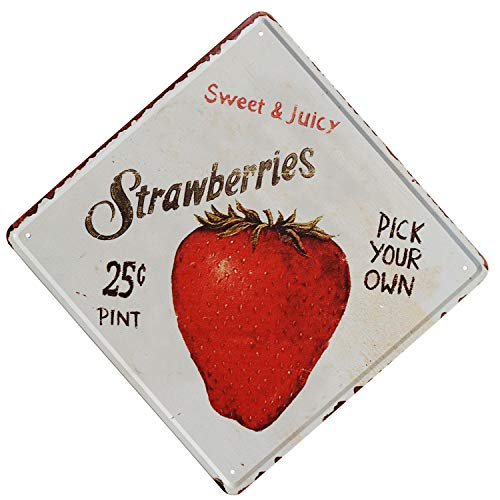 - TISOSO Tin Signs Strawberries Pick Your Own Retro Vintage Bar Sign Country Home Wall Decor Designs Farm Organic Fruit Indoor Metal Coffee Art Poster12X12Inch