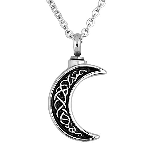 CLY Jewelry Urn Necklace for Ashes Midnight Moon Pendant Carved Moon Black Paint Memorial Love Cremation Jewelry Keepsake for Mom Dad Grandma Grandpa Family Brother Sister Aunt Uncle ()