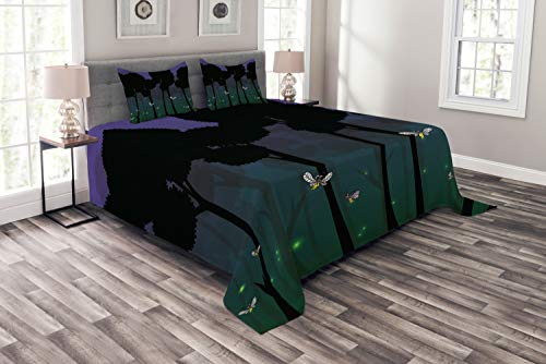 Ambesonne Firefly Bedspread Set King Size, Surreal Forest with Magic Wings Fairy Branches Beetles Kids Cartoon, Decorative Quilted 3 Piece Coverlet Set with 2 Pillow Shams, Dark Brown and Teal -