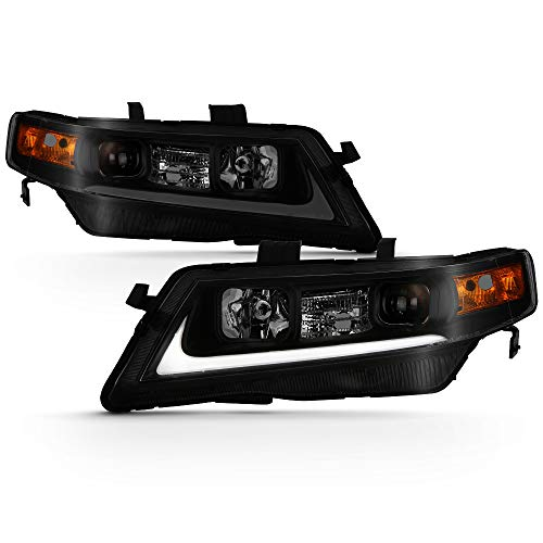 (ACANII - For Black Smoked 2004-2008 Acura TSX CL9 LED Tube Style Projector Headlights Headlamps Driver & Passenger Side)