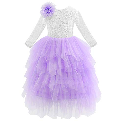 Baby Girls Golden Thread Embroidery Elegant Party Dress for Girls Wedding Dress Kids Dresses for Toddler Girls Christmas Clothes,Purple,7 -