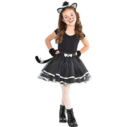 Girls Party Cat Costume (Party City Once Upon A Tutu Cat Halloween Costume Accessory Kit for Girls, Small, Includes Headband and)