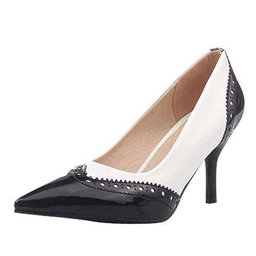 Charm Foot Vintage Lady Womens High Heel Mary Jane Pumps Dress Shoes (8, Black) ()