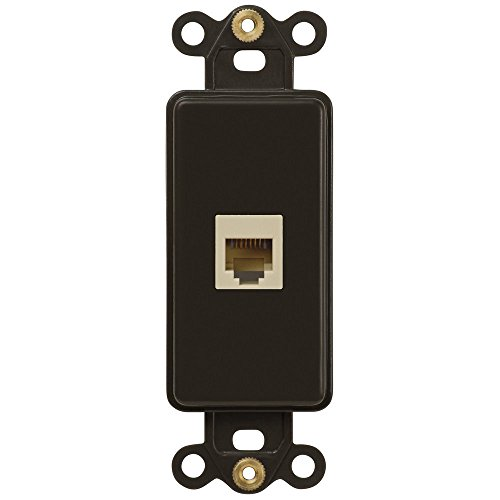 Single Phone Jack Rocker Insert Wallplate, Brown