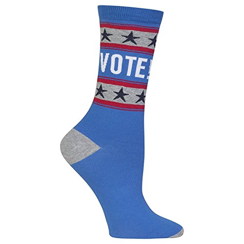 UPC 191751013613, Hot Sox Womens Dress Crew, Vote Blue - Size: 9-11, Comes With a Helicase Brand Sock Ring