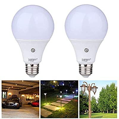 2-Pack E27 Dusk to Dawn LED Sensor Light Bulbs Built-in Photosensor Detection Auto Switch Light Indoor/Outdoor Lighting Lamp for Porch Hallway Patio Garage (9W 810Lumens, Cool White 6000K)