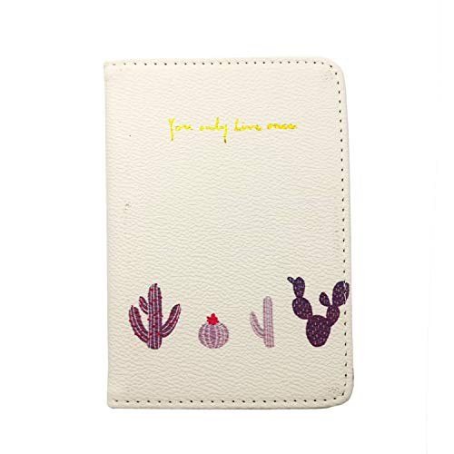 Passport Cover Protector Holder Case for Women, Chris.W Multifunctional Pu Leather Folder for Tickets, Credit Cards and Boarding Pass - Cactus (Passport Cover For Women)