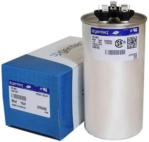 (GE Genteq Round Capacitor 60 10 uf MFD 370 Volt 27L389BZ3 27L389)