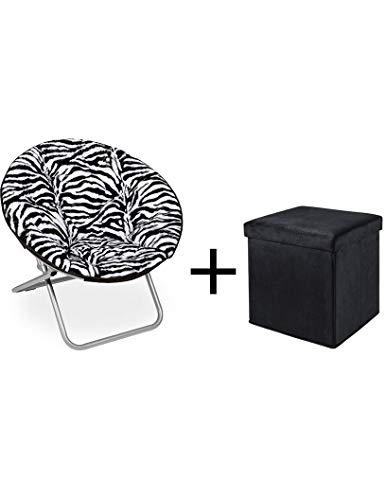 (Mainstay.. Faux-Fur Saucer Chair (Zebra with Ottoman, Faux Fur))