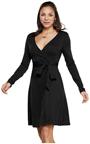 Printed Slinky Jersey Dress - Toad&Co Women's Cue Wrap Dress Black Small