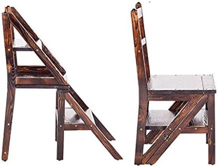 Escalera de tijera de madera maciza, silla plegable de escalera de biblioteca plegable convertible multifuncional de madera natural Taburete de cuatro pasos para adultos para biblioteca Decoración: Amazon.es: Hogar
