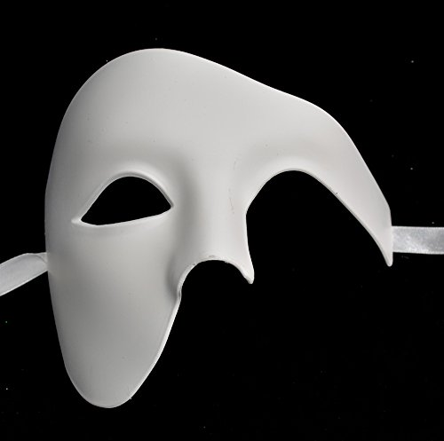 [Blank Plain All White Simple Men's Half Mask DYI Mask Mardi Gras Venetian Mask Halloween Ball Masquerade] (Simple Halloween Masks)