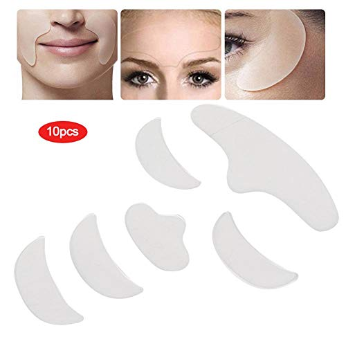 Reusable Silicone Anti Wrinkle Patches - 6pcs Face Lifting Tightening Patch,Facial Patches Wrinkle Remover Strips for Concrete Parts- Forehead Eye Chin, Anti-Aging Keep Young