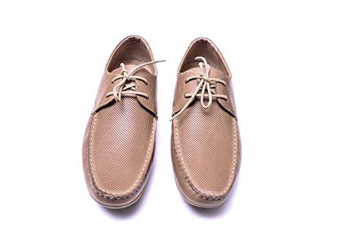 Vogar Mocassins Plates Beige Chaussures Ete A en Flaneurs VG4924 Cuir Hommes Enfiler 55X7nHr