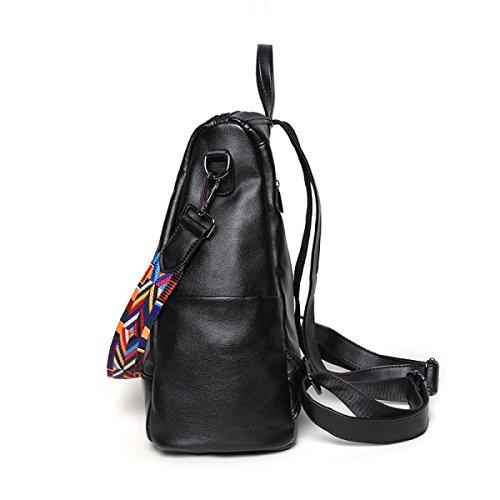 Mochila De Bordado De La Mujer De La Personalidad De Moda Bolsa De Viaje De La Cinta De Hombro PU Mochila (negro) Black1