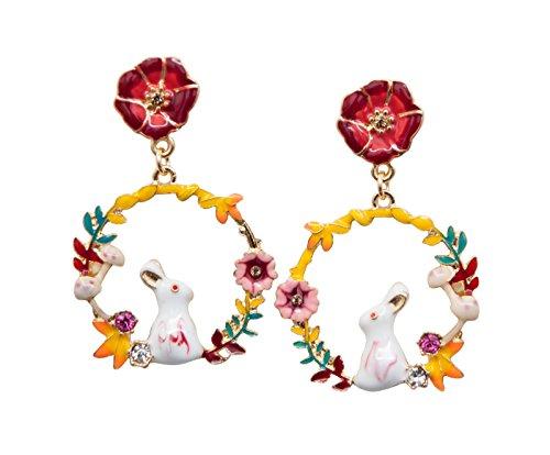 (Sisfrog Cute Rabbit Earrings Wreath Earrings Flowers Earrings Dangle Earrings, Birthday, Easter Gifts for Women, Girls)