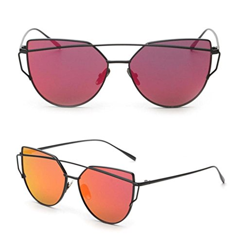 Women Fashion Twin-Beams Classic Metal Frame Mirror Sunglasses (Red) Classic Metal Frame Sunglasses