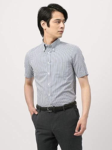 (ザ・スーツカンパニー) 半袖・3BLOCK SHIRT/ボタンダウンカラードレスシャツ ストライプ 〔EC・FIT〕 ネイビー×ホワイト