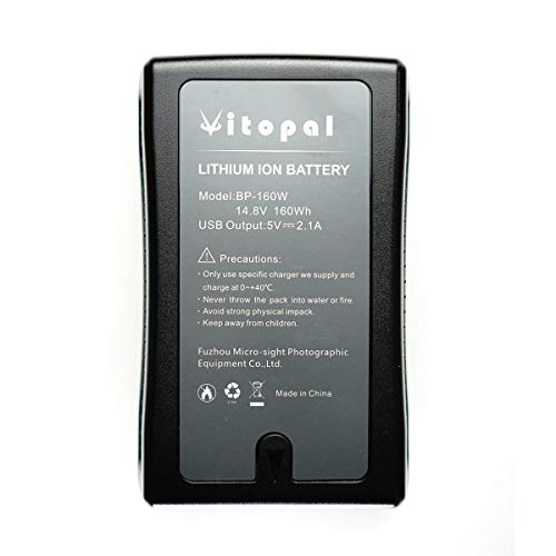Vitopal V Mount Battery and Charger (160Wh Lithium-ion Rechargeable V Lock Battery with D-Tap) for Falcon Eyes LED Video Light and Video ()
