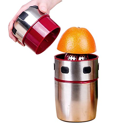 Stainless Steel Juicer, Portable Manual Lid Rotation Citrus Juicer Lemon Juicer Squeezer for Oranges, Lemons, Tangerines and Grapefruits