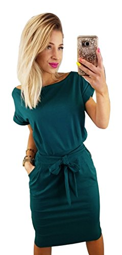 Longwu Womens Elegant Short Sleeve Wear To Work Casual Pencil Dress With Belt Dark Green L