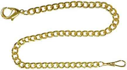 Pocket Watch Chain FOB Curb Link Design Goldtone 14 inches by ShoppeWatch PC-74GD