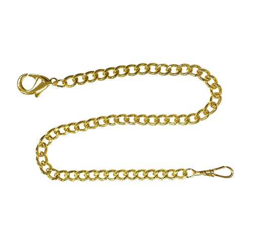 (Pocket Watch Chain FOB Curb Link Design Goldtone 14 inches by ShoppeWatch PC-74GD)