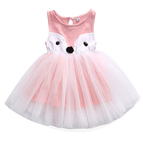 [Toddler Baby Girl Summer Sleeveless Cute Animal Shape Tutu Dress Outfit (90cm/1 Years, Pink)] (Animal Outfits For Toddlers)