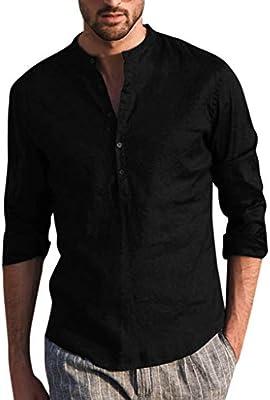 ღLILICATღ Camisa Hombre Blusa Suelta Casual Transpirable Top de Manga Largo Camisas Sin Cuello de Color Sólido Botón Blusas de Trabajo: Amazon.es: Deportes y aire libre