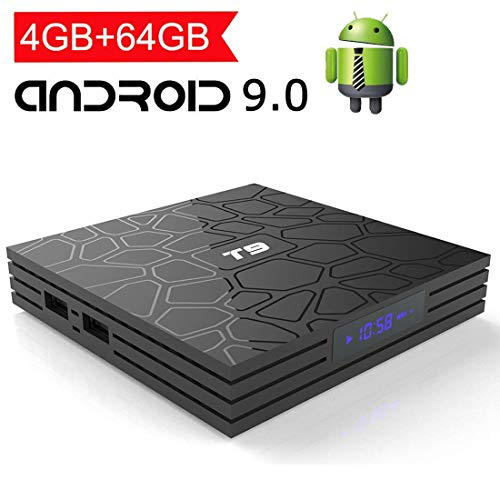 EASYTONE Android 9.0 TV Box with 4GB Ram 64GB Rom,T9 Android TV Box Quad Core/ 64 Bits/Dual WiFi 2.4G+5G/ BT4.0/USB 3.0/ H.265/ 3D UHD 4K Smart Internet TV Box