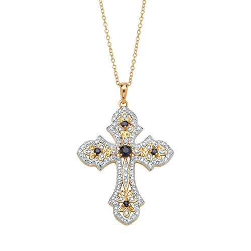 Genuine Midnight Blue Sapphire Diamond Accent 18k Gold over .925 Sterling Silver Cross Necklace 18
