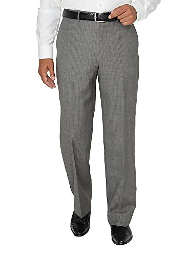 Paul Fredrick Men's Wool Herringbone Flat Front Pant Black/White 48 (Big And Tall White Dress Pants)