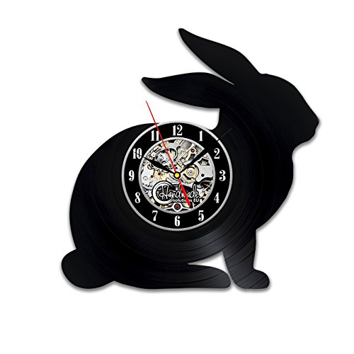 Rabbit Clock (Rabbit Bunny Animal Circle Vinyl Wall Clock Art Home Decor Interior Design Childrens Room Living Bedroom Nursery Decoration - Gift for kids him her mother father boyfriend girlfriend)