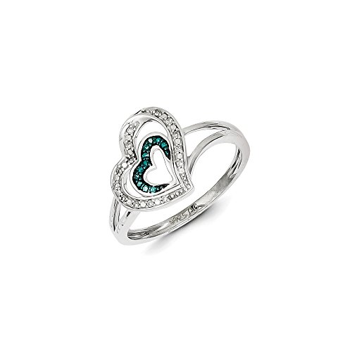 .08 Cttw (I2-I3 clarity) Blue&H-I White Diamond Asymmetrical Heart Ring in Sterling Silver