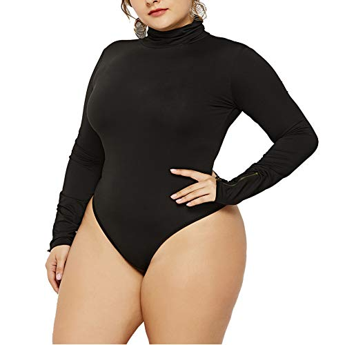 IyMoo Women's Sexy Plus Size Long Sleeve Turtleneck Leotard Bodysuit Romper Black-2 5XL -