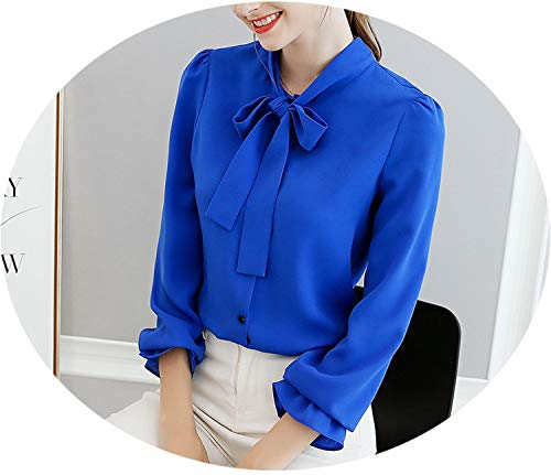 Shirts Joker Blue White Blouse Woman Blusas Bow Tie Neck Tops Spring Summer Long Sleeve Shirt,Royal Blue,M -