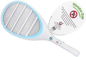 Wonder Zap Electric Bug Zapper mosquito Bite matamoscas para interior y exterior Pest Control Luz Portátil Durable plástico ABS y funciona con pilas con forma de raqueta de tenis de mano LED para fácil de Swing
