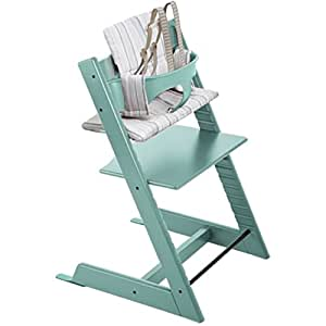 stokke tripp trapp chair with baby set and soft stripe cushion aqua blue baby. Black Bedroom Furniture Sets. Home Design Ideas