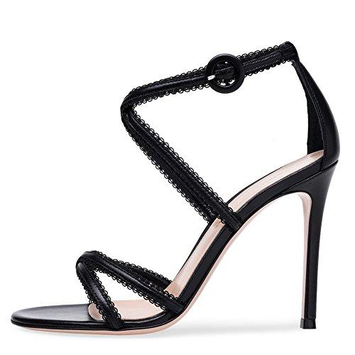 yc L fiesta Slip Tamaño Shoes Hebilla Sandalias On Mujeres Las gran Black Hechas Mano Slingback Tacones Bombas Graduación De A Altos dUnOWpUxqr