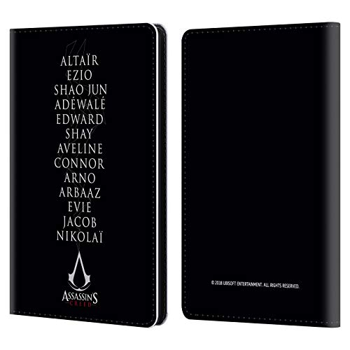 Official Assassin's Creed Names Legacy Typography Leather Book Wallet Case Cover Compatible for Kindle Paperwhite 1/2 / 3 -
