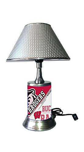 Rico Table Lamp with chrome shade, Wisconsin Badgers plate rolled in on the lamp (Wisconsin Metal Table Lamp)