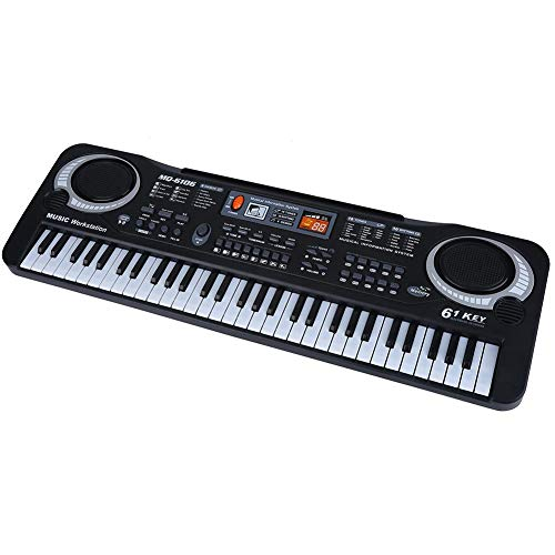 lyrlody Electronic Piano 61 Key Electric Digital Keyboard Piano with Microphone Portable Musical Instruments Toy for Adults Kids Children Boy Girl