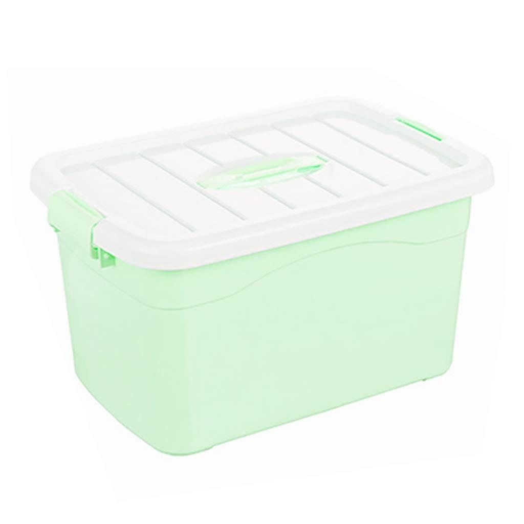 CDラック プラスチック収納ボックス収納整理箱付きカバー子供のおもちゃ服収納ケースグリーン分類ボックス、防虫防湿 (Size : 52*38*32cm) B07RXKC5BJ  52*38*32cm