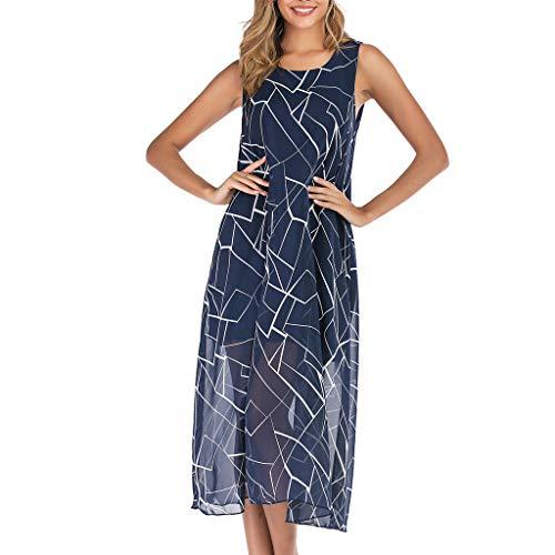 Toimothcn Women's Chiffon Swing Dress Sleeveless Casual Boho Floral Print Beach Sundress (Blue1,M)