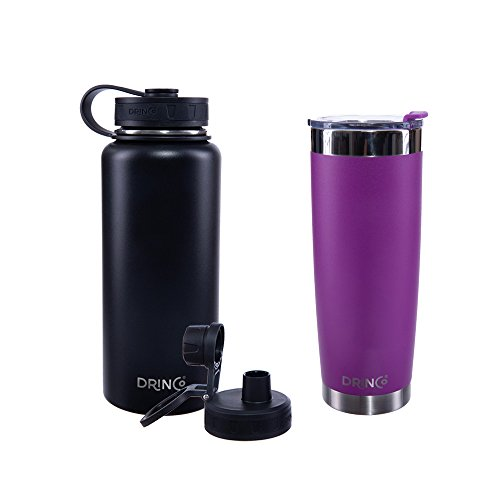 Drinco Vacuum Insulated Stainless Steel Water Bottle + Stainless Steel Insulated Tumbler, with Spout Lid, Wide Mouth, Powder Coated, Double Wall, 30 oz & 20 oz, 2 pack (Black/Purple)