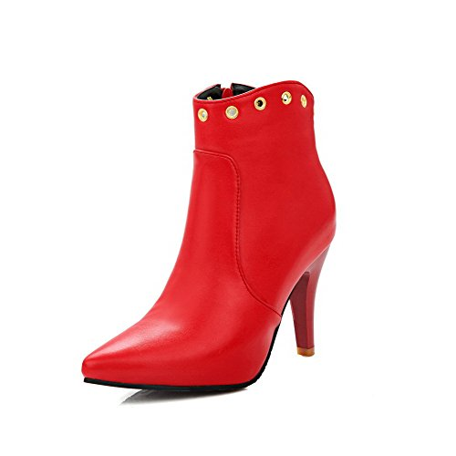 AgooLar Women's Soft Material Zipper Pointed Closed Toe High-Heels Ankle-high Boots Red 7ElsXSoX