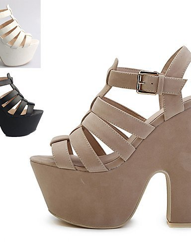 ShangYi Women's Shoes Leather Chunky Heel Heels / Platform Sandals Party & Evening / Dress / Casual Black / White / Silver / Silver WlfBFhc