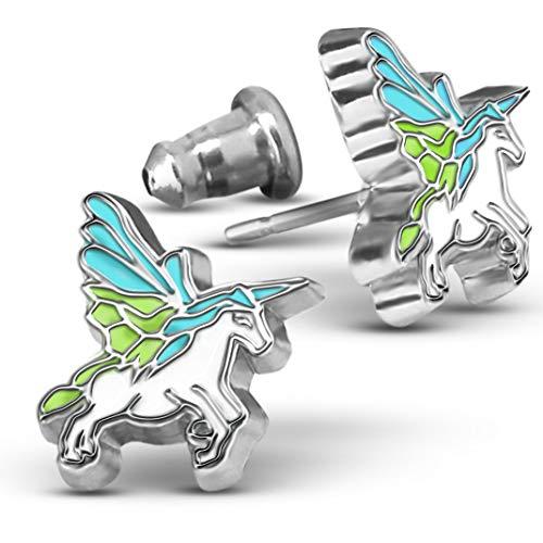 Unicorn Jewelry Stud Earrings For Girls | Unicorn Earrings For Girls | Little Girls Earrings For Toddlers And Teens | Flying Unicorn Earrings For Little Girls Dangle Earrings For Girls -